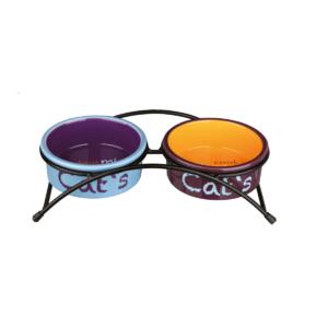 Zestaw misek ceramicznych na stojaku dla kota TRIXIE