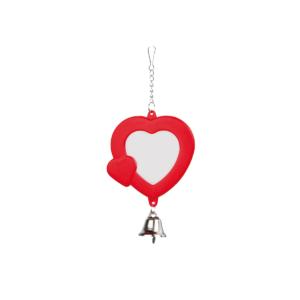 Lusterko dla papugi z dzwoneczkiem DELFIN Czerwone z fioletowym dzwoneczkiem