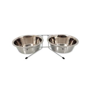 Zestaw misek metalowych na stojaku dla kota i psa Plaček 13 cm 2 x 0,38 L